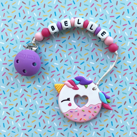 Personalized Teether: Unicorn Donut (Pink)