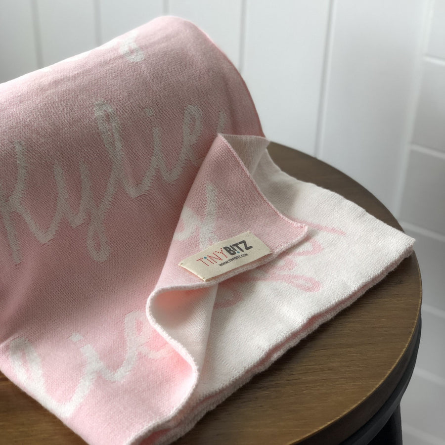 Personalized Blanket for Babies and Kids (Light Pink Background)