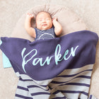 Personalized Blanket for Babies or Kids (Stripes on Navy Background)