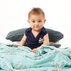 Personalized Blanket for Babies and Kids (Mint Background)