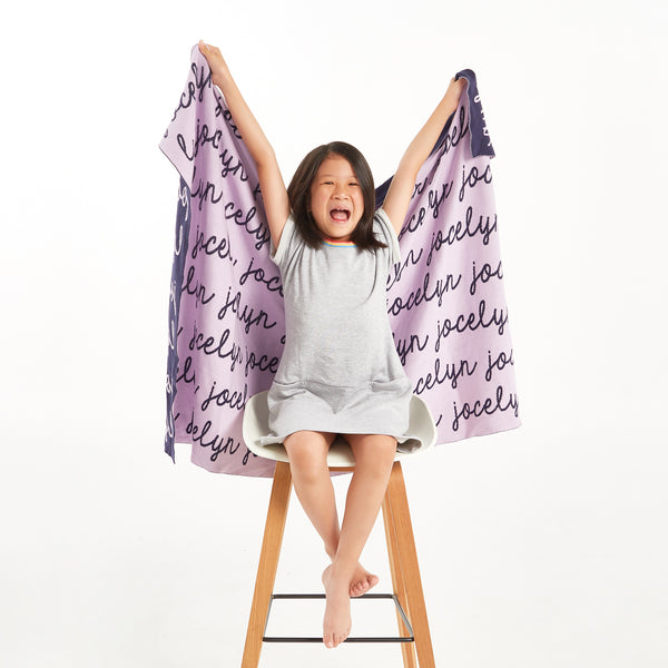 Personalized Blanket for Babies and Kids (Light Purple Background)