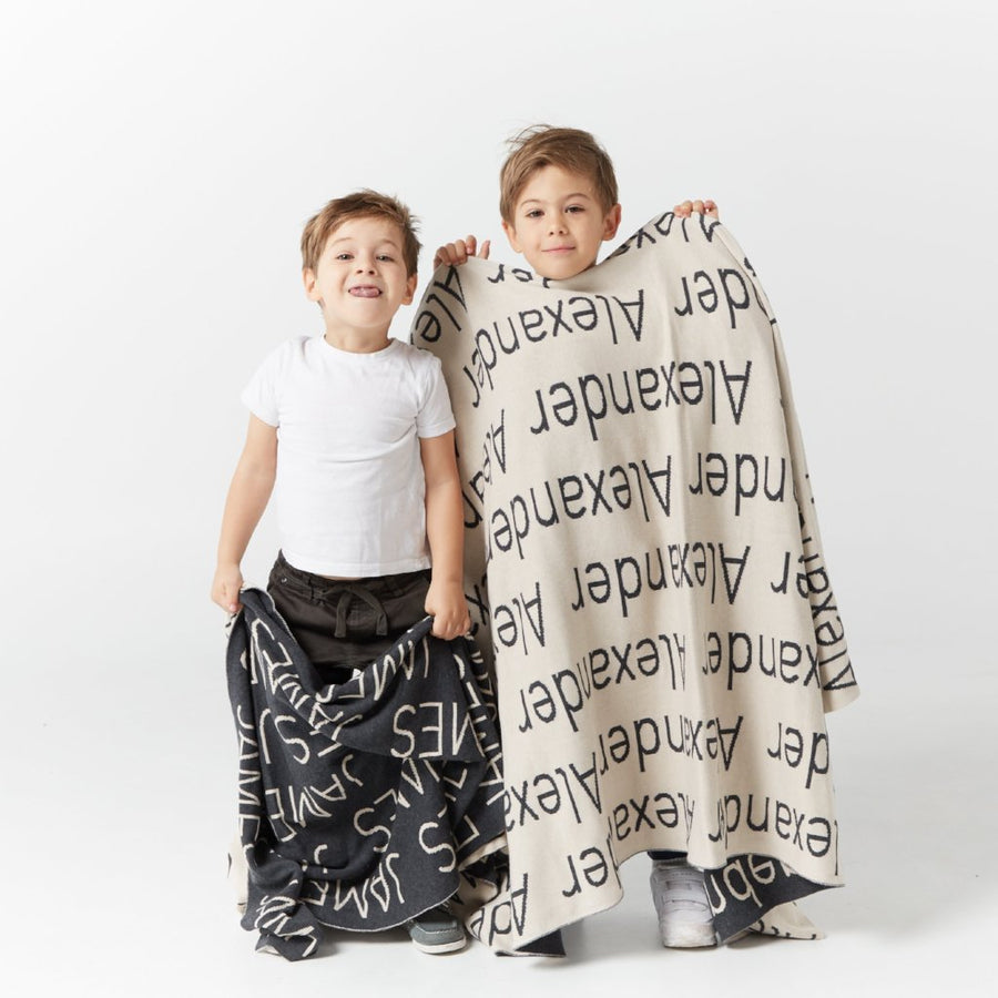 Personalized Blanket for Babies and Kids (Charcoal Background)