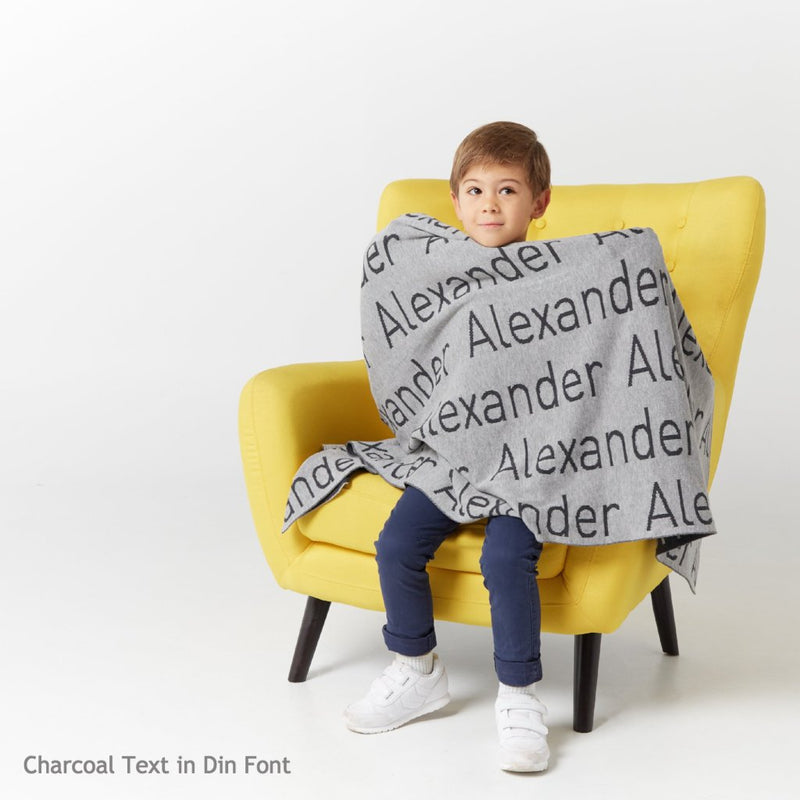 Personalized Blanket for Babies and Kids (Light Grey Background)