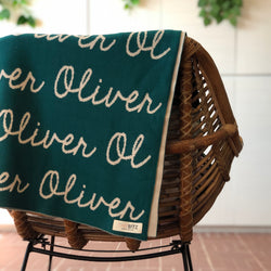 Personalized Blanket for Adults (Teal Background)