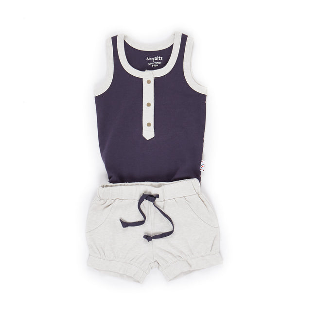 Singlet and Shorts Set (Twinkly Nights - Navy)
