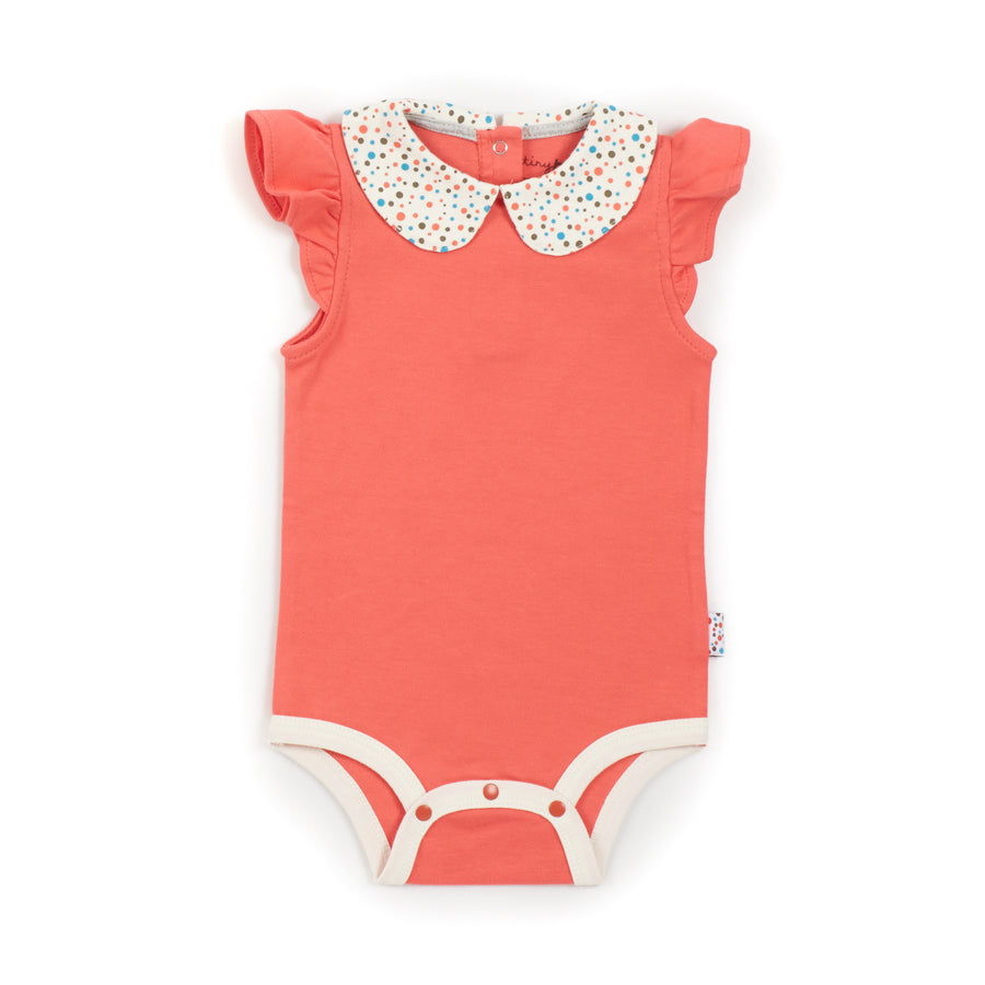 Short-Sleeved Onesie ( Tiny Dots - Coral)