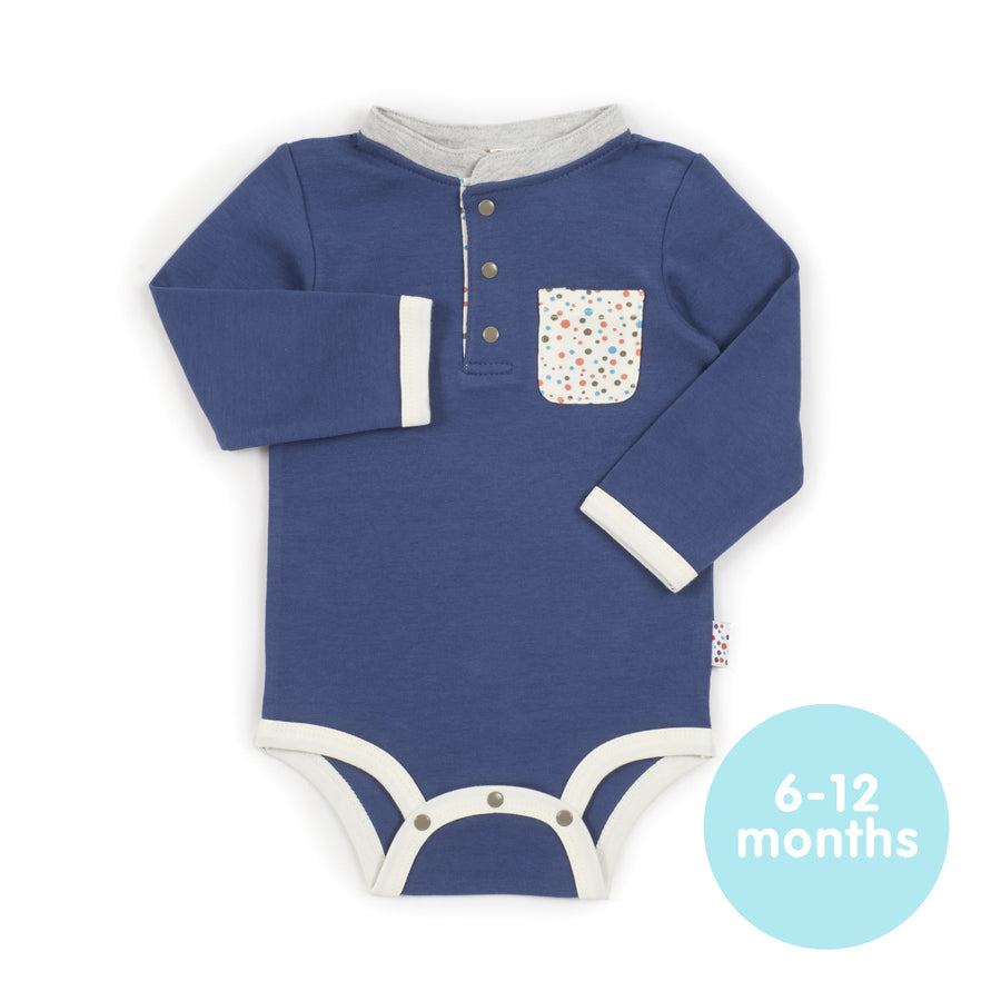 Long-Sleeved Onesie (Tiny Dots - Blue)
