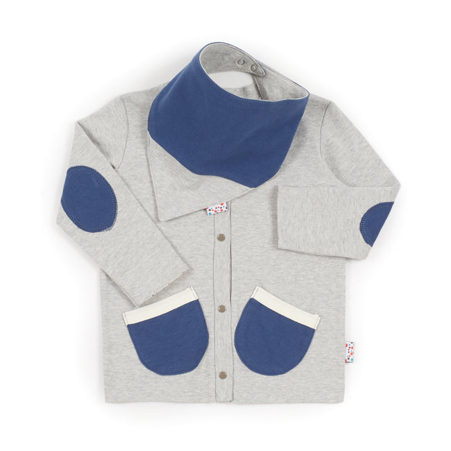 Cardie and Bib Set (Tiny Dots - Grey)