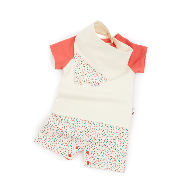 Play-Tee and Bib Set (Tiny Dots - Cream)