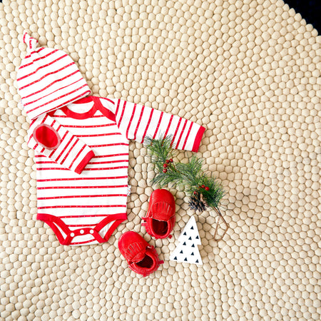 Christmas Set: Candy Cane Bodysuit + Moccasins