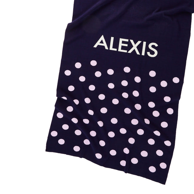 Personalized Blanket for Babies or Kids (Dots on Navy Background)