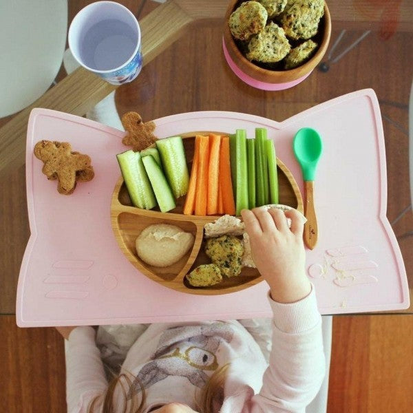 Avanchy: Toddler Bamboo Stay Put Suction large Plate + Spoon (Yellow)