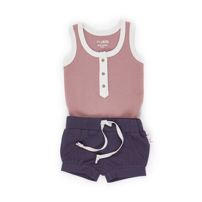 Singlet and Shorts Set (Twinkly Nights - Pink)