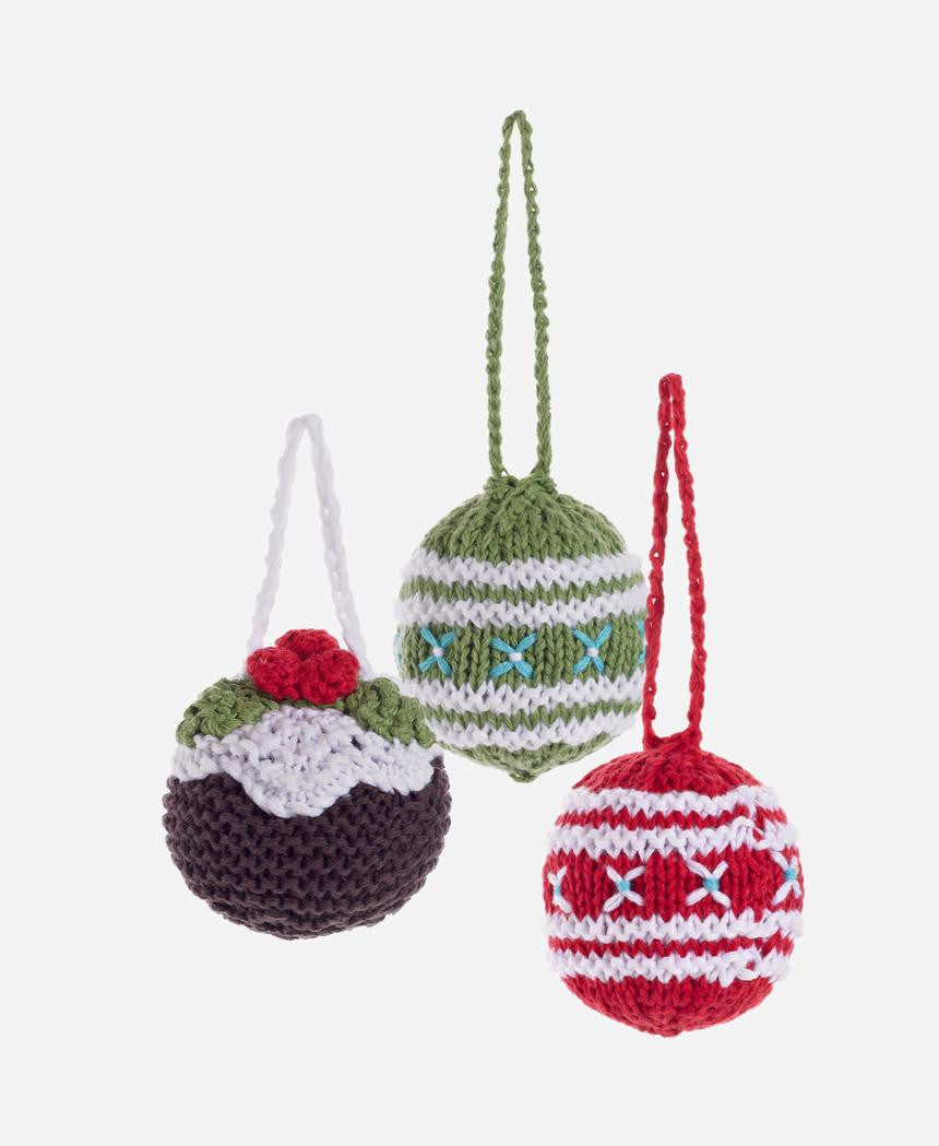 Pebble Christmas Knitted Baubles Set