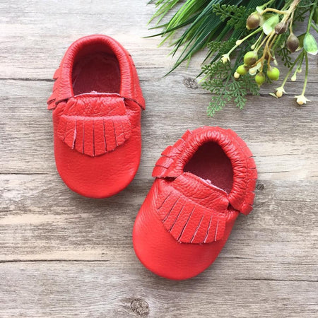 Little Caleb: Leather Moccasins (Classic Cherry)