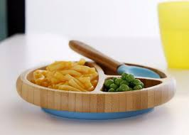 Avanchy: Baby Bamboo Stay Put Suction Divided small Plate + Spoon (Yellow)