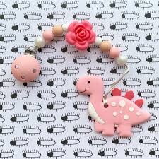 Little Caleb: Cute Dinosaur Teether (Pink)