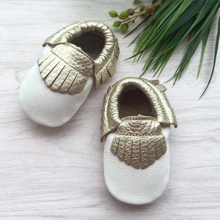 Little Caleb: Leather Moccasins (Gold Fringe White Leather)