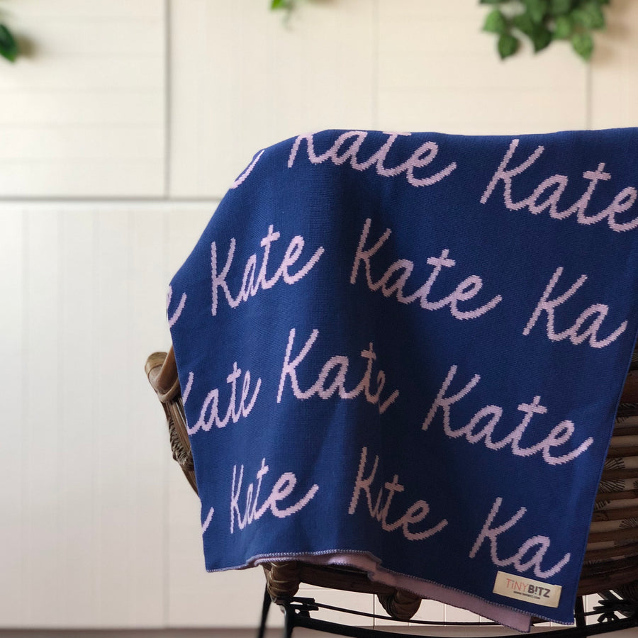 Personalized Blanket for Babies and Kids (Blue Background)