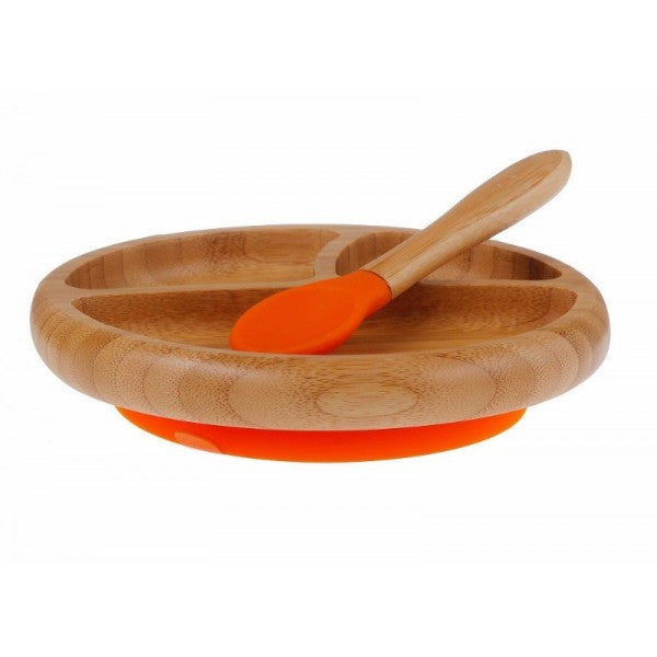 Avanchy: Baby Bamboo Stay Put Suction Divided small Plate + Spoon (Orange)