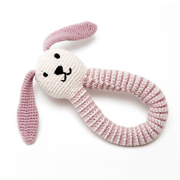 Pebble: Organic Bunny Rattle (Dusty Pink)