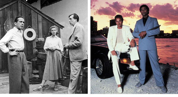 The history of espadrilles. Lauren Bacall and Don Johnson