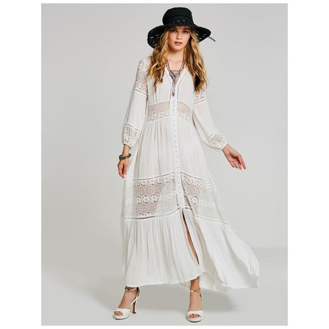 Polyblend White Maxi Dress