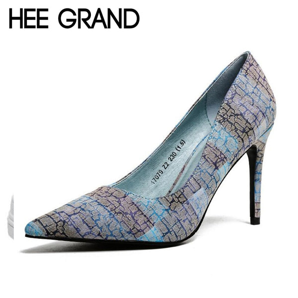 HEE GRAND Women Thin Heel Pumps 2018 New Retro Style Women High Heels PU Leather Spring Shoes Slip On Pumps XWD6524