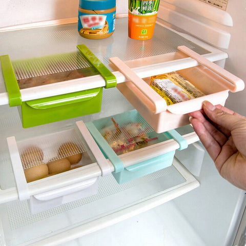Refrigerator Shelf Rack Holder Fridge Shelf Holder Pull-out Storage Drawers Organiser Space Saver Food Storage Box