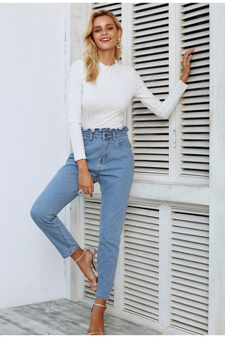 Simplee Pleated push up jeans high waist woman Light blue casual women jeans pants 2018 Autumn winter skinny jeans female
