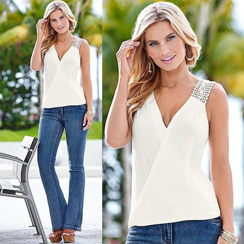 Sleeveless Top Women Fashion Summer Blouse T Shirt Blouse Vest Casual Tank Tops