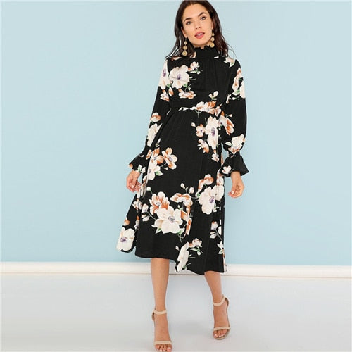 SHEIN Black Print Mock Neck Pleated Panel Floral Dress Elegant Ruffle Streetwear Trip High Waist Women Autumn Dresses