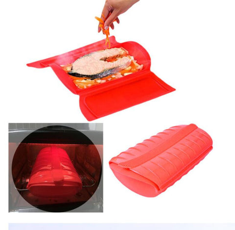 Person Amazing Silicone Steam Case Steamer Kitchen Gadget Tool for Oven Microwave without Draining Tray Reasons to recomend