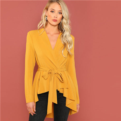 SHEIN Ginger Office Lady Elegant Asymmetrical Hem V neck Belted Solid Coat 2018 Autumn Workwear Fashion Women Coats Outerwear
