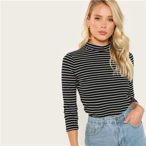SHEIN Black Three Quarter Length Sleeve Striped Fitted Stand Collar Long Sleeve Pullovers Tee Women Plain Autumn Elegant Tops