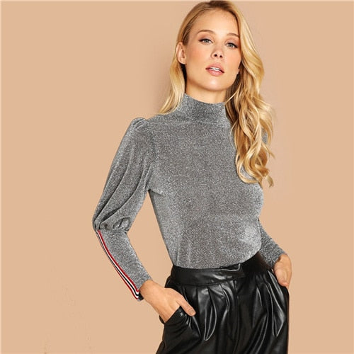SHEIN Grey Casual Elegant Mock-Neck Leg-of-mutton Sleeve Stand Collar Long Sleeve Tee Autumn Workwear Women Tshirt And Top