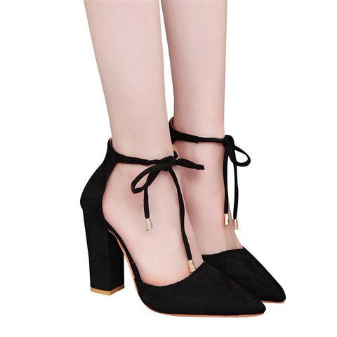2018 New Women Fashion Elegant High Heeled Sandals Suede Pointed Shoes Casual Bandage Sandals