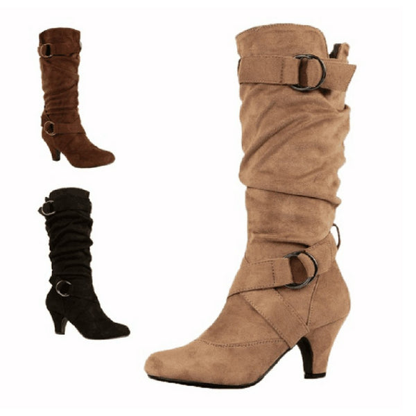 Fashion Retro Women's Cross Strap  Buckle Shoes  Round-Toe  Keep Warm High Boots