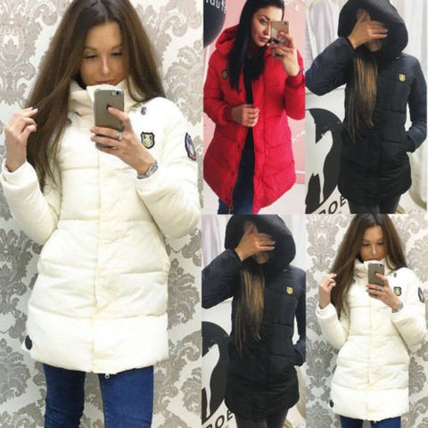 Winter Coat Women Long Jacket Thick Down Cotton Parka Warm Hooded Slim Outerwear