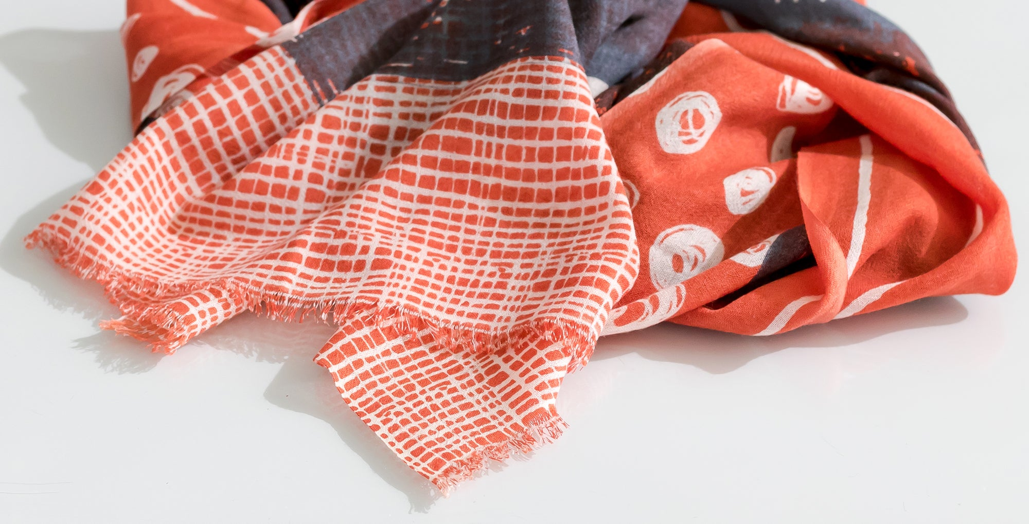 merino scarves handwoven and hand printed