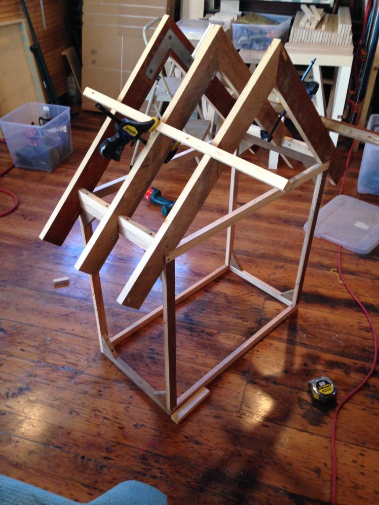 """Framing completed in oak and 1"""" boards."""