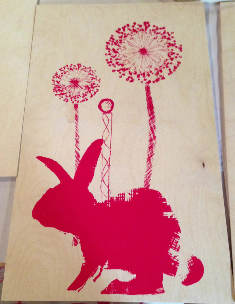 Red bunny screen printed