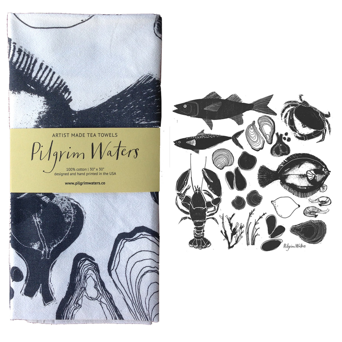 Tea towel Seafood | 100% cotton - PilgrimWaters | designer & makers