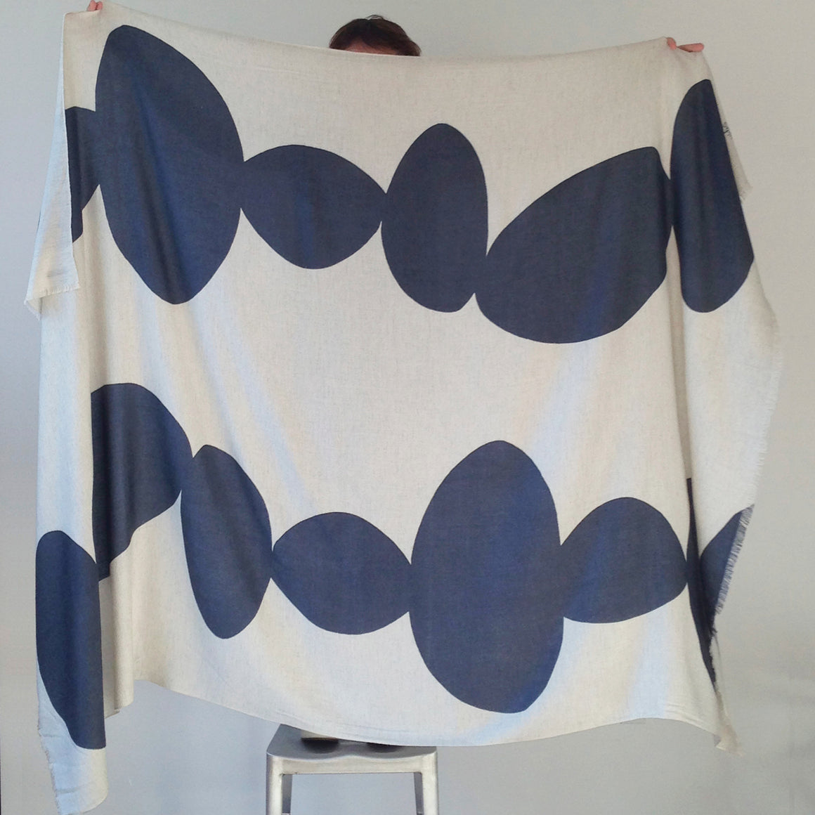 "throw 90""x60"" 30%Silk 70%Wool handprinted"