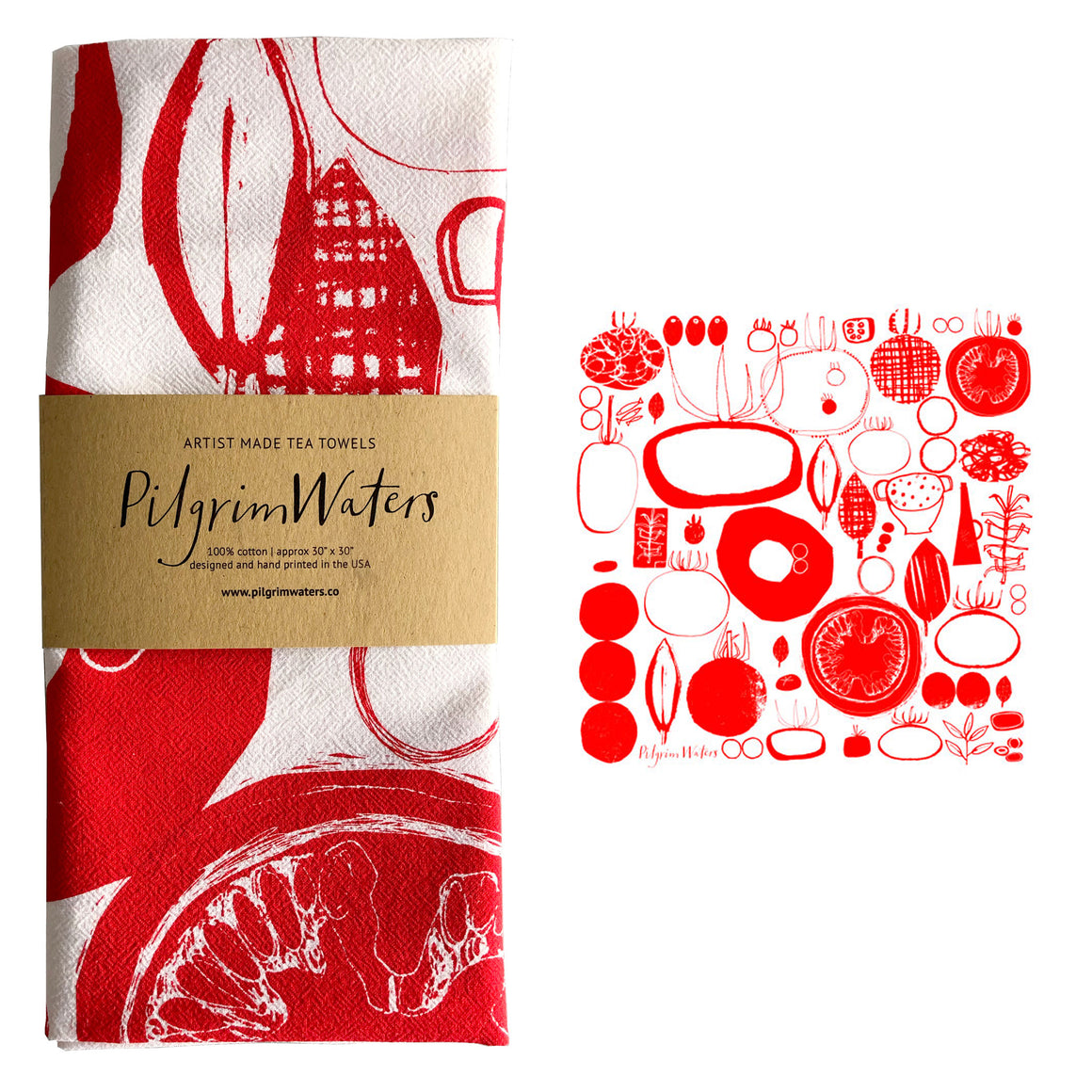 Tea Towel | Tomatoes 100 % cotton - PilgrimWaters | designer & makers