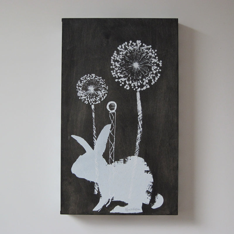 White bunny on black tray base