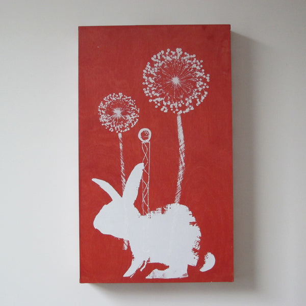 White bunny on red tray base