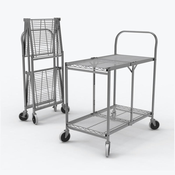 Two-Shelf Collapsible Wire Utility Cart - International Tool Company