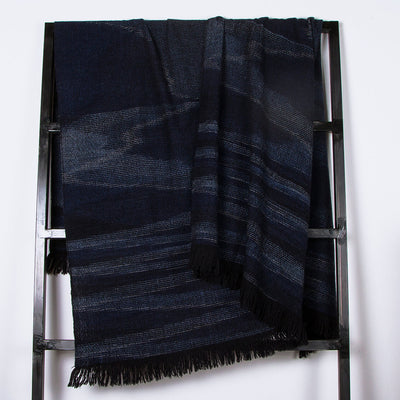 Throw black and indigo 100% merino