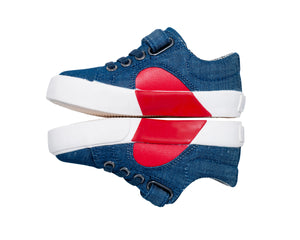 children's hook & loop denim shoe with a heart